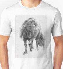 Black Horse sumi-e original watercolor painting T-Shirt