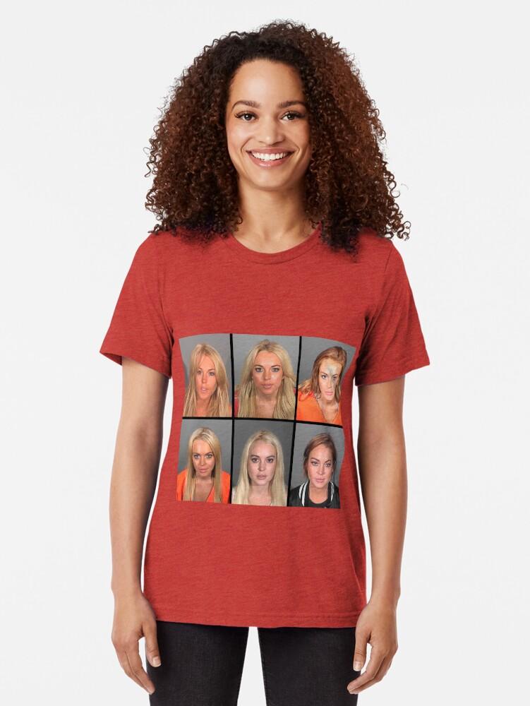 Vista alternativa de Camiseta de tejido mixto LINDSAY LOHAN MUGSHOTS