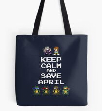 8-Bit TMNT- Keep Calm and Save April Tote Bag