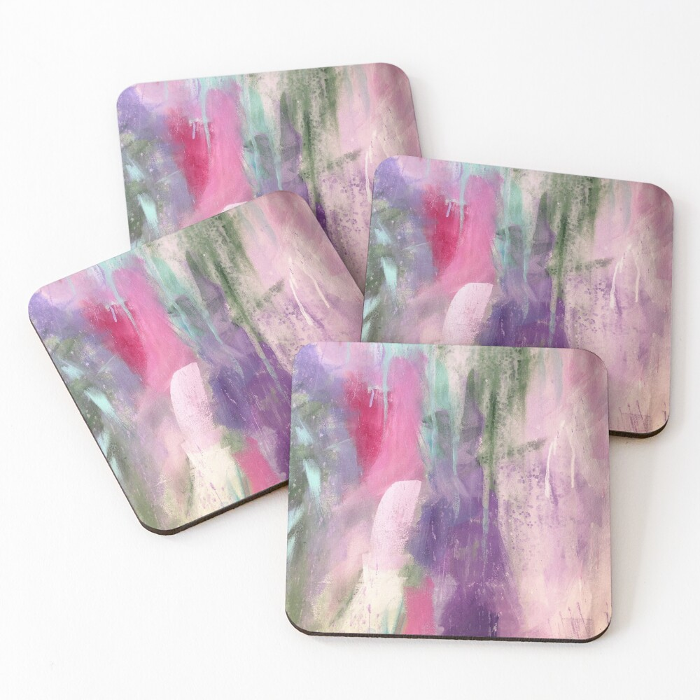 """Kaleidoscope"" pastel abstract painting by Sandra Vincent Coasters (Set of 4)"
