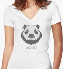 Panda Bear(d) Fitted V-Neck T-Shirt