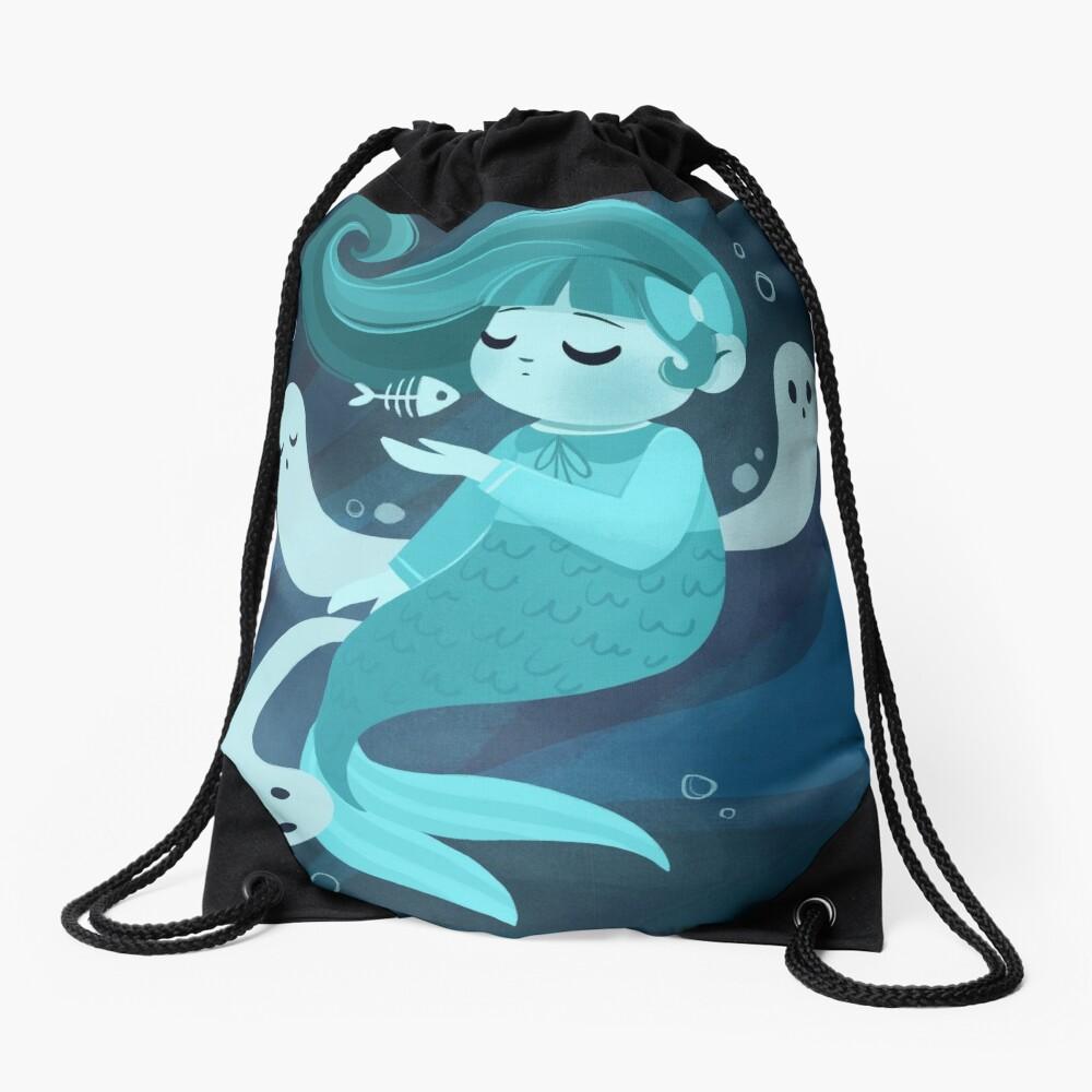 Ghost Mermaid Drawstring Bag