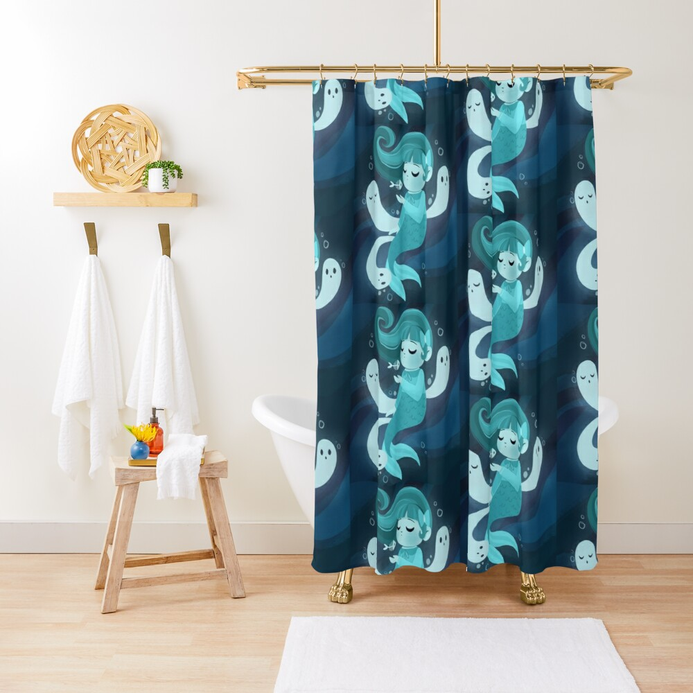 Ghost Mermaid Shower Curtain