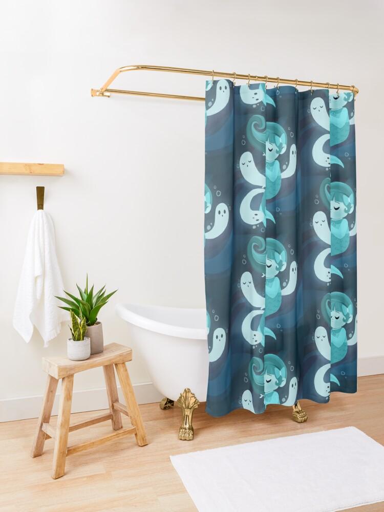 Alternate view of Ghost Mermaid Shower Curtain