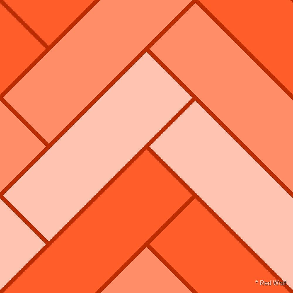 Geometric Pattern: Herringbone: Orange by * Red Wolf