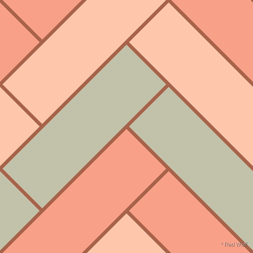 Geometric Pattern: Herringbone: Salmon by * Red Wolf