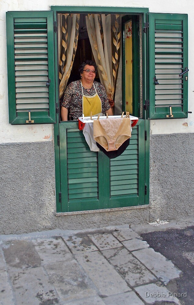 Lady with Washing - Gallipoli Italy by Debbie Pinard
