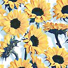 Sunflowers on Pale Blue and White by micklyn