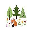 Scandinavian Style Fox Flowers Trees Illustration by NataliePaskell
