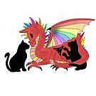 Dragon and kitties by Melanie Jeyakkumar