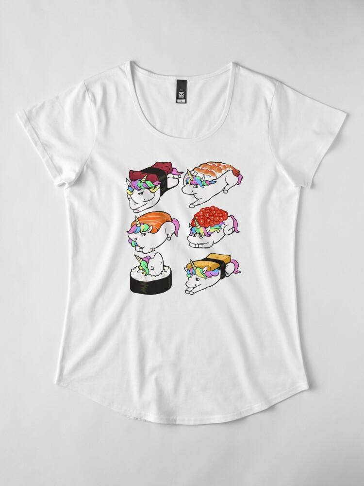 Alternate view of  Sushi Unicorn Premium Scoop T-Shirt