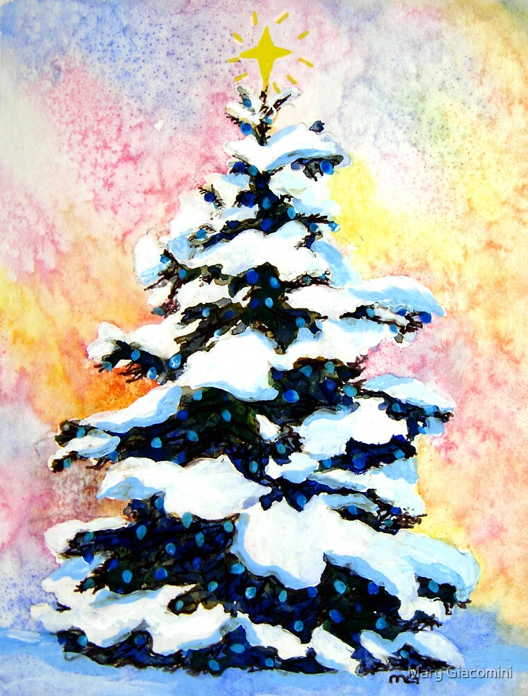 Christmas tree watercolor painting of a snowy lit pine for Christmas paintings easy