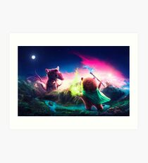 Knife Rat vs Wizard Bear Art Print