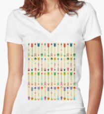 Colorful Tribal Arrows Pattern with Yellow Background Women's Fitted V-Neck T-Shirt