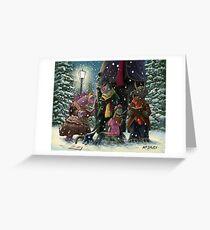 victorian dinosaur Carol Singers Greeting Card