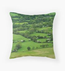 Welsh Border Country: Fields Throw Pillow