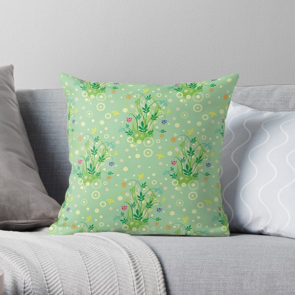 Decorative products with floral ornament. Throw Pillow