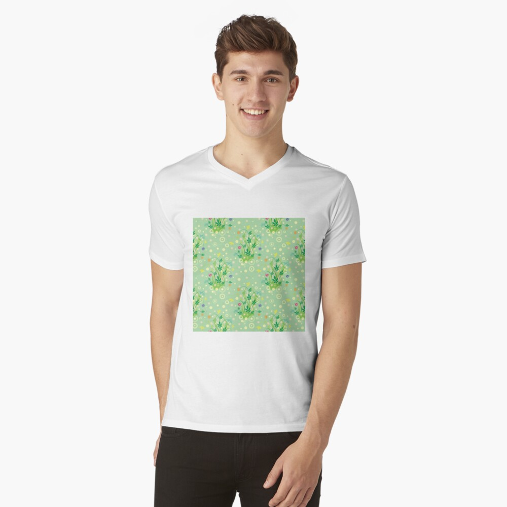 Decorative products with floral ornament. V-Neck T-Shirt