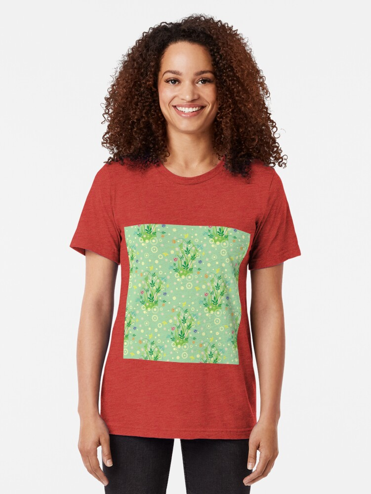 Alternate view of Decorative products with floral ornament. Tri-blend T-Shirt