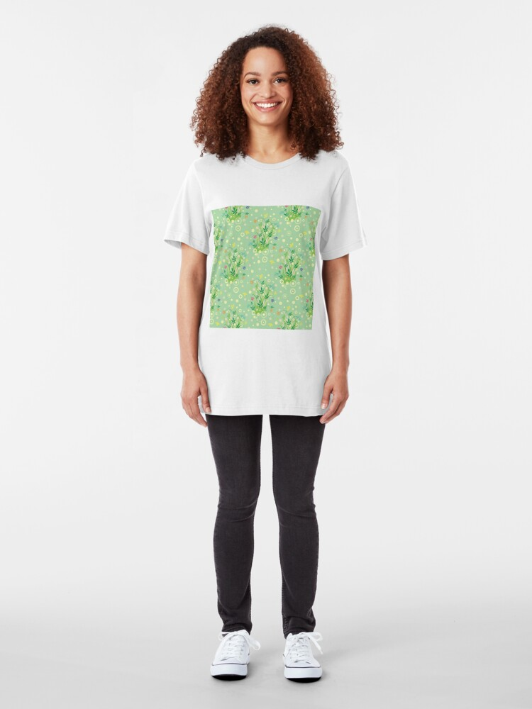 Alternate view of Decorative products with floral ornament. Slim Fit T-Shirt