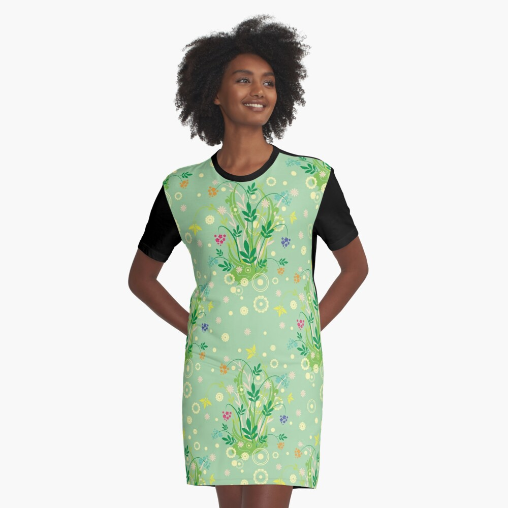 Decorative products with floral ornament. Graphic T-Shirt Dress