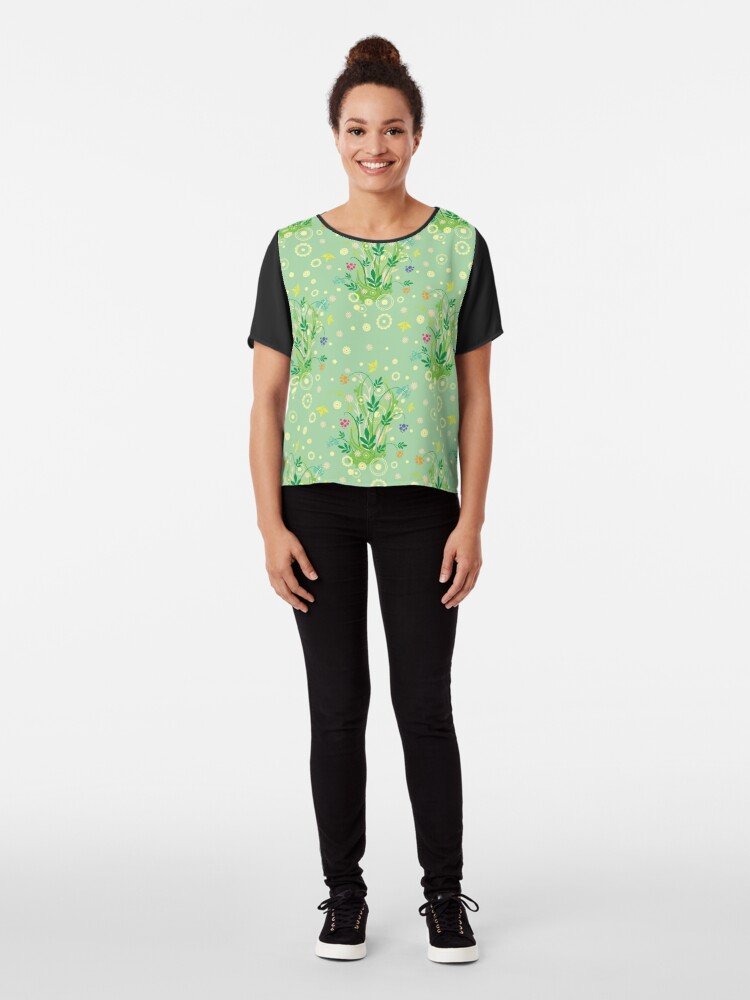Alternate view of Decorative products with floral ornament. Chiffon Top