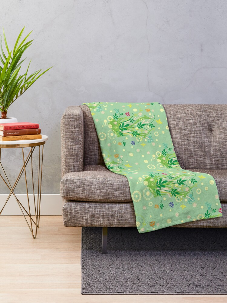 Alternate view of Decorative products with floral ornament. Throw Blanket