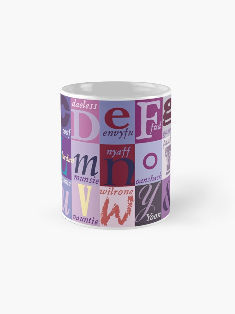 Alternate view of Scottish Snash Words alphabet - insult words. Mug