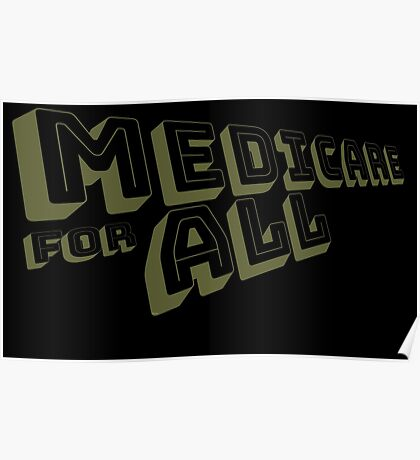 Medicare for All - Yellow Bungee Text Poster