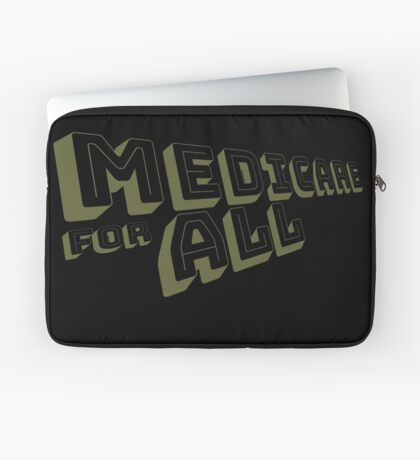 Medicare for All - Yellow Bungee Text Laptop Sleeve