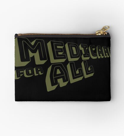 Medicare for All - Yellow Bungee Text Zipper Pouch