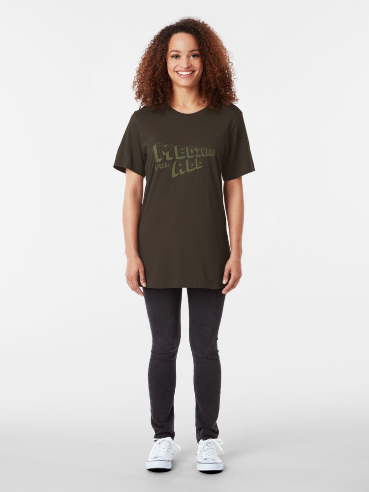 Alternate view of Medicare for All - Yellow Bungee Text Slim Fit T-Shirt
