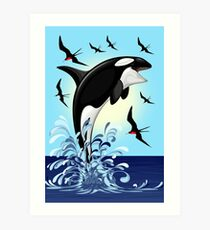 Orca Killer Whale jumping Art Print