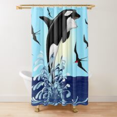 Orca Killer Whale jumping Shower Curtain