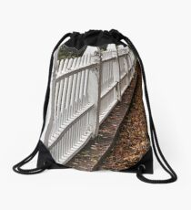 White Picket Fence Drawstring Bag