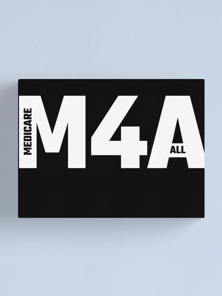 Alternate view of M4A (Medicare for All) White Acronym with Black Text Canvas Print