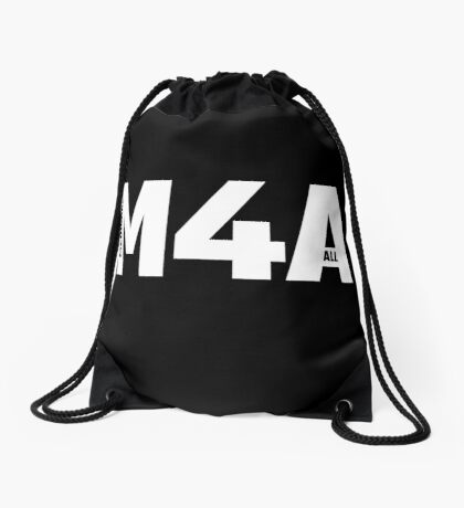 M4A (Medicare for All) White Acronym with Black Text Drawstring Bag