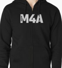 M4A (Medicare for All) White Acronym with Black Text Zipped Hoodie