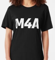 M4A (Medicare for All) White Acronym with Black Text Slim Fit T-Shirt