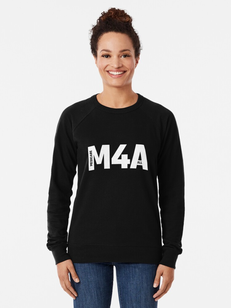 Alternate view of M4A (Medicare for All) White Acronym with Black Text Lightweight Sweatshirt