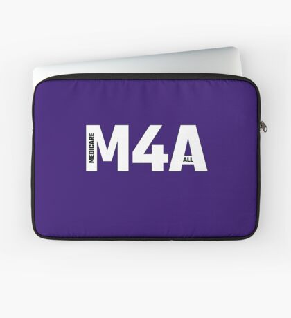 Copy of M4A (Medicare for All) White Acronym with Black Text and Outline Laptop Sleeve