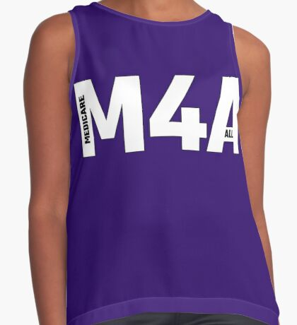 Copy of M4A (Medicare for All) White Acronym with Black Text and Outline Sleeveless Top