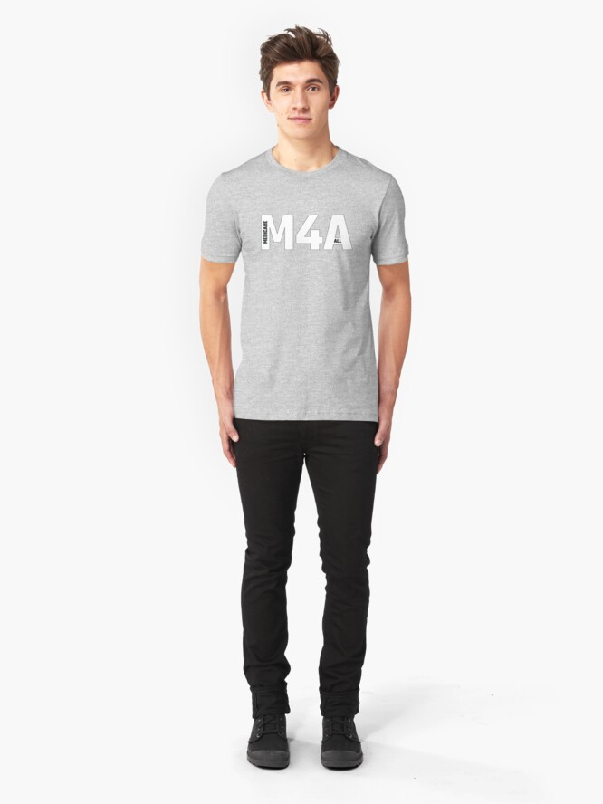 Alternate view of Copy of M4A (Medicare for All) White Acronym with Black Text and Outline Slim Fit T-Shirt