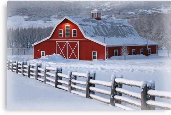 Winter Barn by David Kocherhans