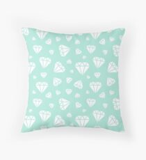 Mint Faceted Diamonds Pattern Throw Pillow