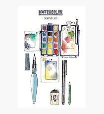 Watercolor Survival Kit Photographic Print