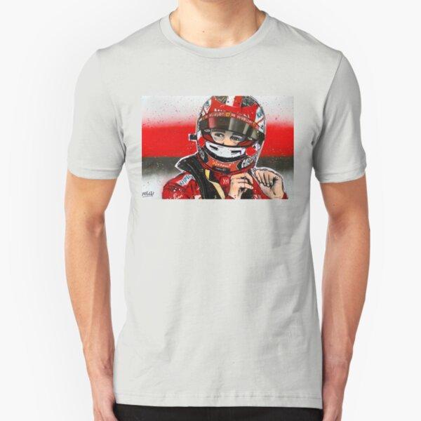 Charles Leclerc - Ferrari F1 graffiti painting by DRAutoArt Slim Fit T-Shirt