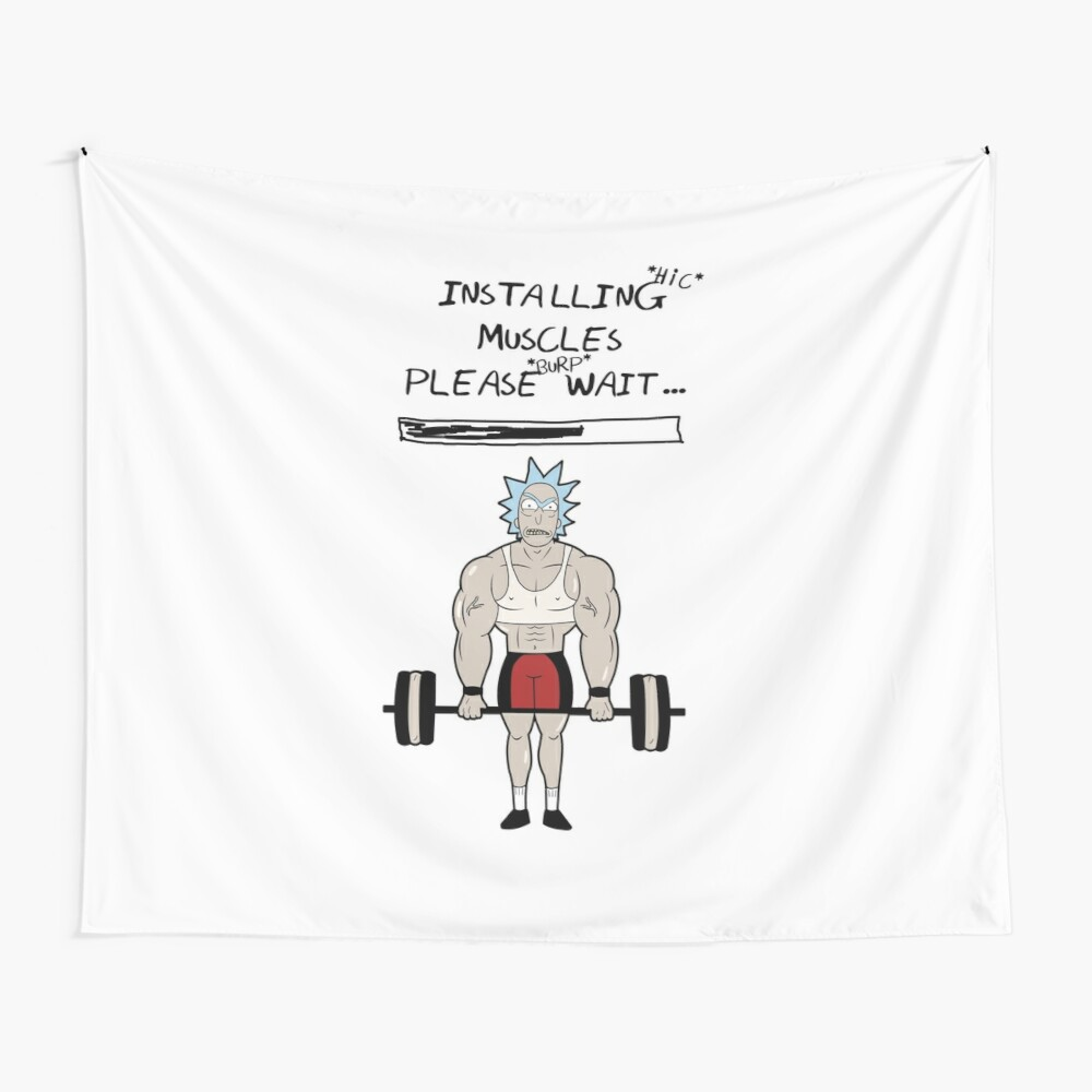Rick and Morty. Installing muscles. Wall Tapestry