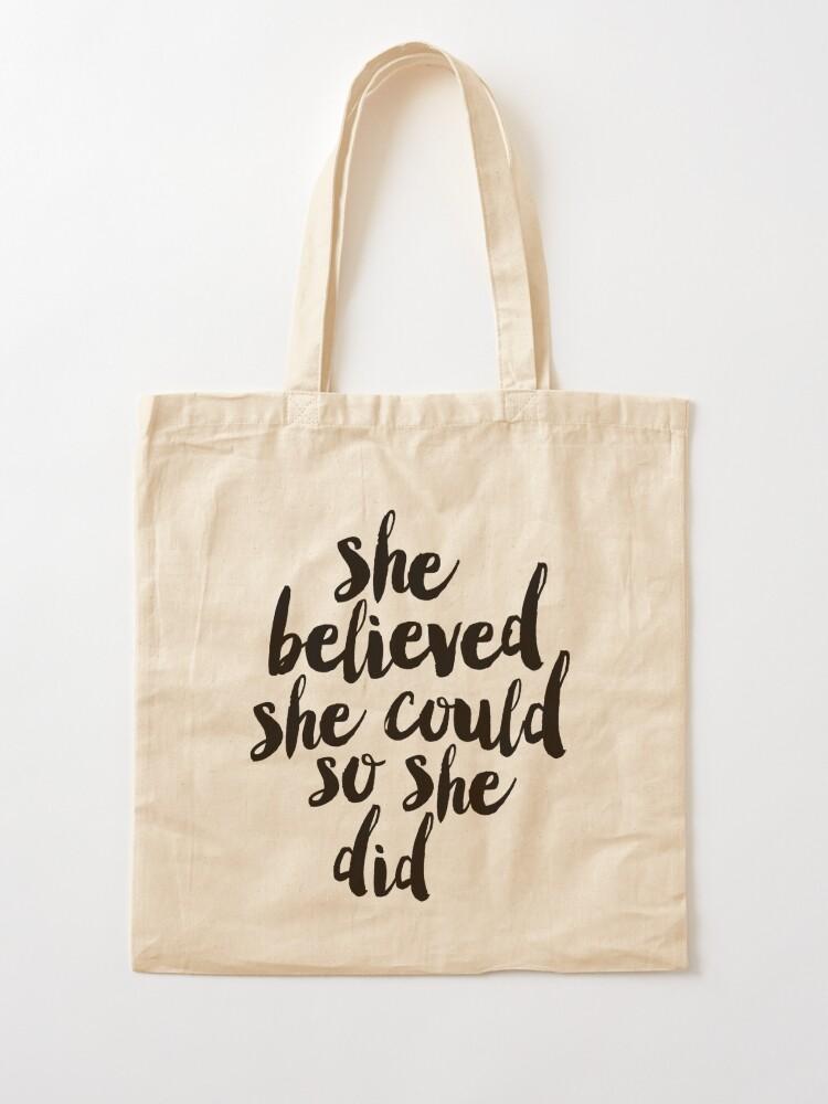 Alternative Ansicht von Sie glaubte, sie könnte so tat sie Stofftasche