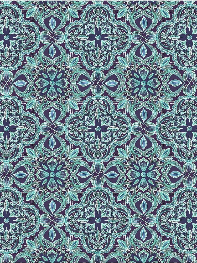 Chalkboard Floral Pattern in Teal & Navy by micklyn